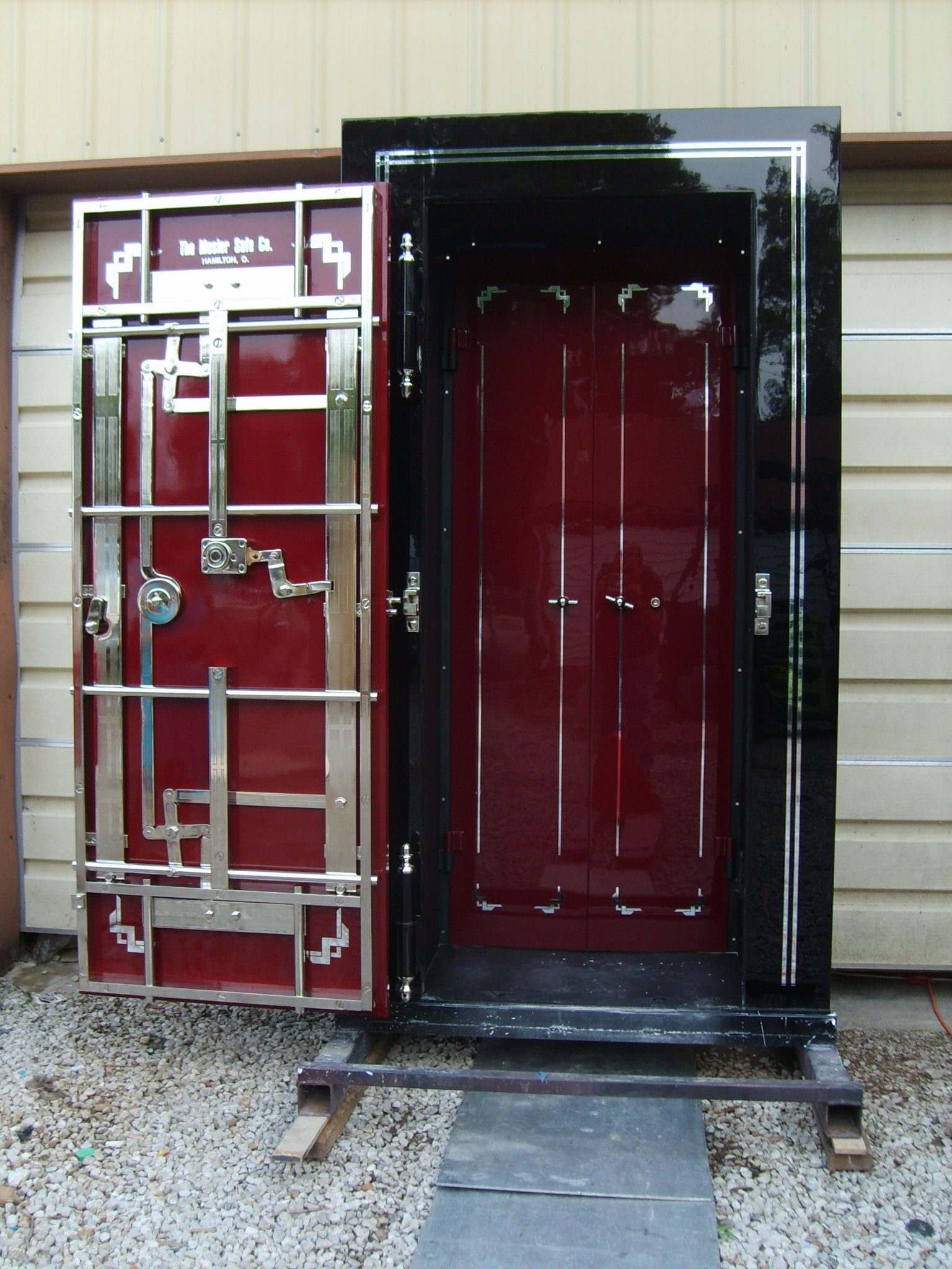Antique Mosler Crane Hinge Vault Door Restoration - Frank Zykan Safe & Vault, LLC - Vault Doors & Panic Rooms